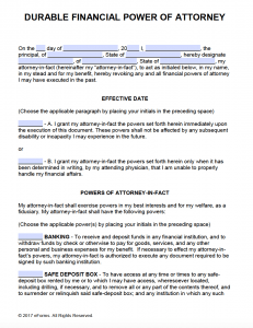 power of attorney form free printable pdf