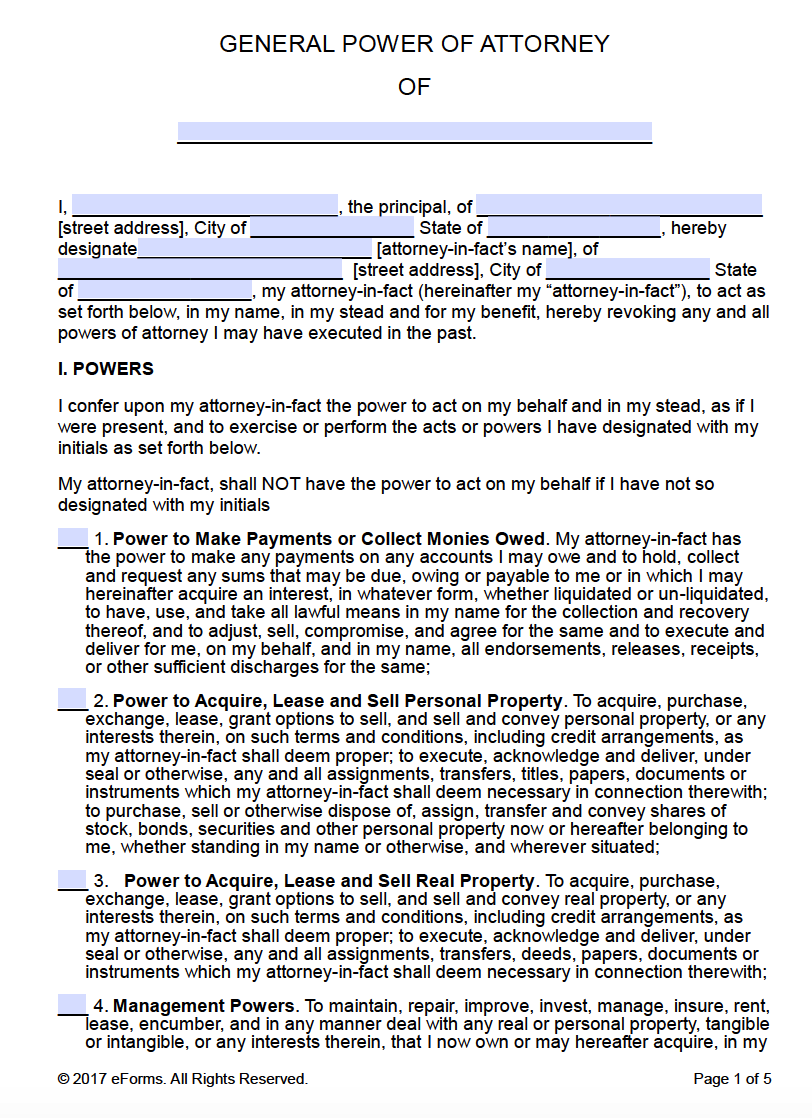 Free Printable General Power of Attorney Forms