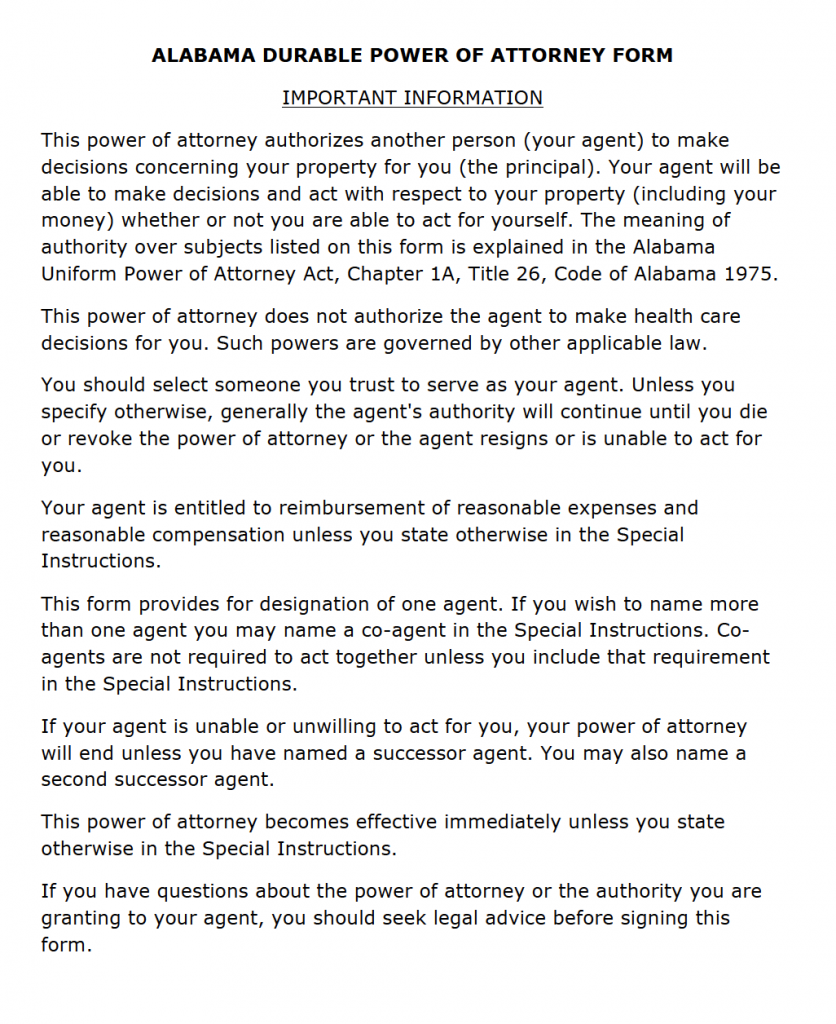 Free Durable Power of Attorney Alabama Form – PDF on easement form alabama, quit claim deed form alabama, printable medical power attorney forms alabama, bill of sale form alabama, name change form alabama, power of attorney document, power of attorney print out,