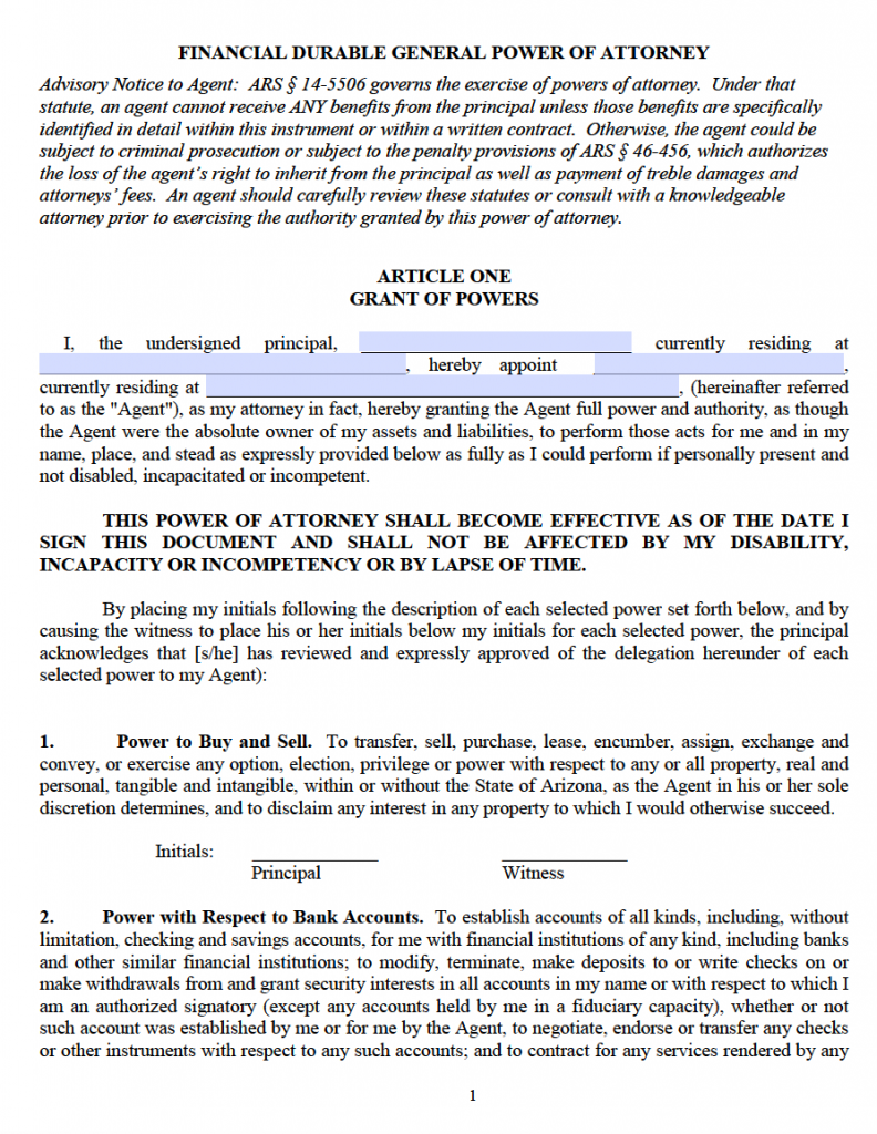 Free Durable Power Of Attorney Arizona Form Pdf