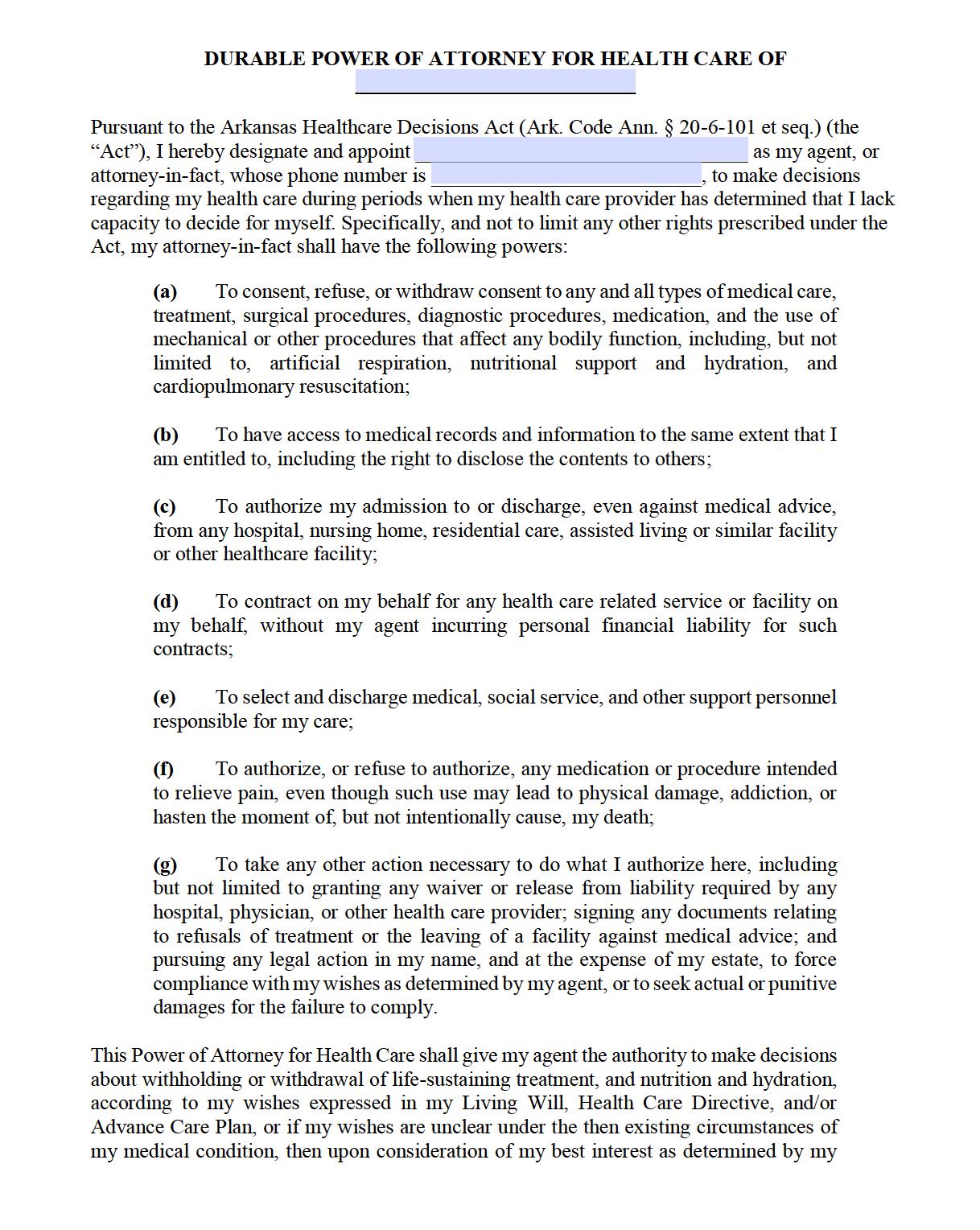 Free Medical Power of Attorney Arkansas Form – Adobe PDF