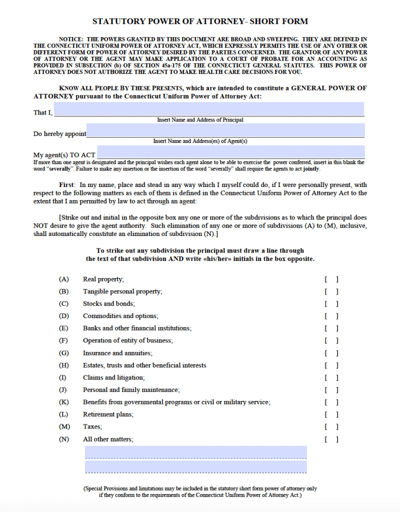 Free Durable Power of Attorney Connecticut Form - PDF