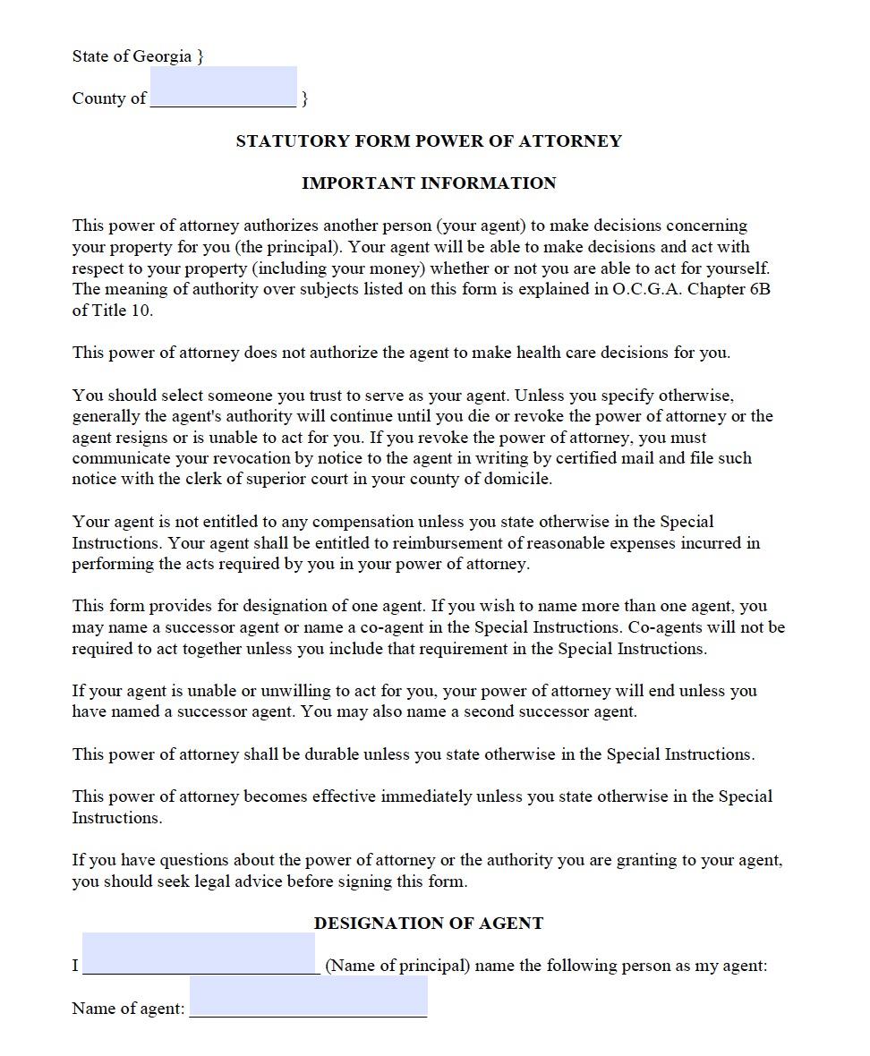 Free Georgia Power Of Attorney Forms Pdf Templates