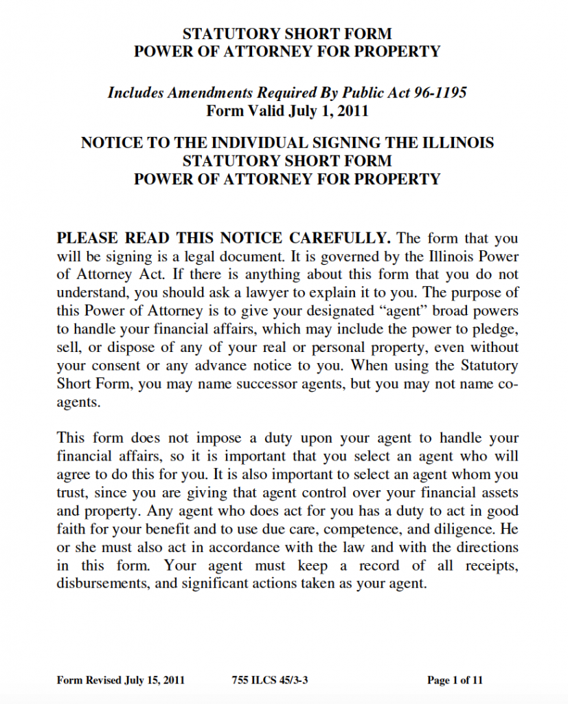 power of attorney form illinois  Free Durable Power of Attorney Illinois Form – Adobe PDF