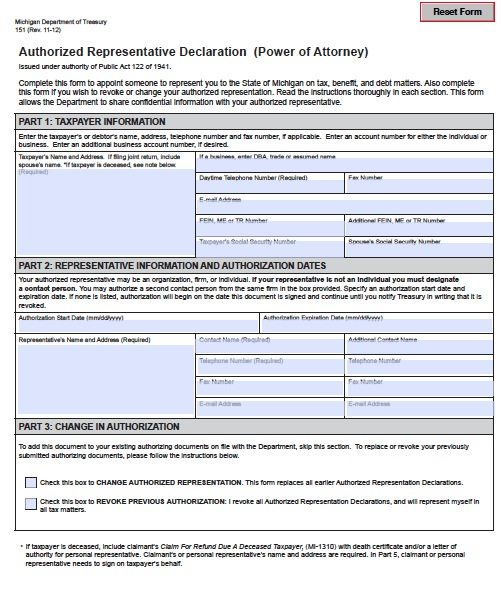 Free Tax Power of Attorney Michigan Form – Adobe PDF
