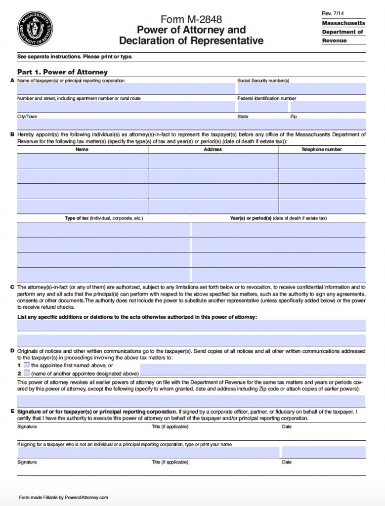 Free Tax Power Of Attorney Massachusetts Form Adobe Pdf