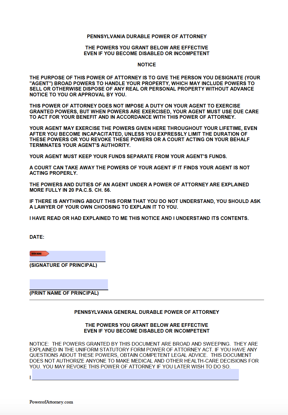 Free Durable Power of Attorney Pennsylvania Form – PDF & Word