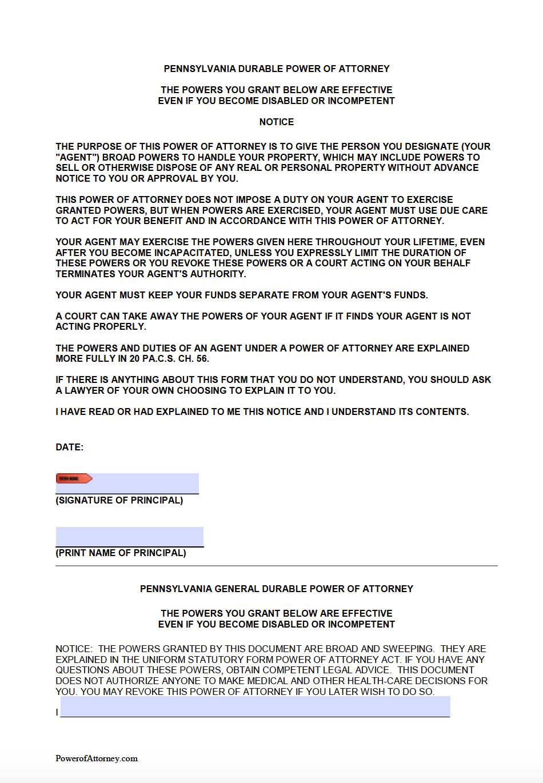 power of attorney form pennsylvania  Free Durable Power of Attorney Pennsylvania Form – PDF & Word