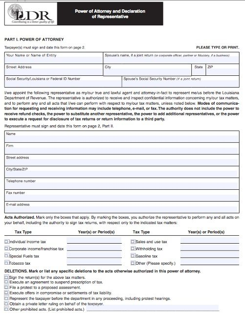 Tax power of attorney louisiana form adobe pdf for Power of attorney to execute motor vehicle documents