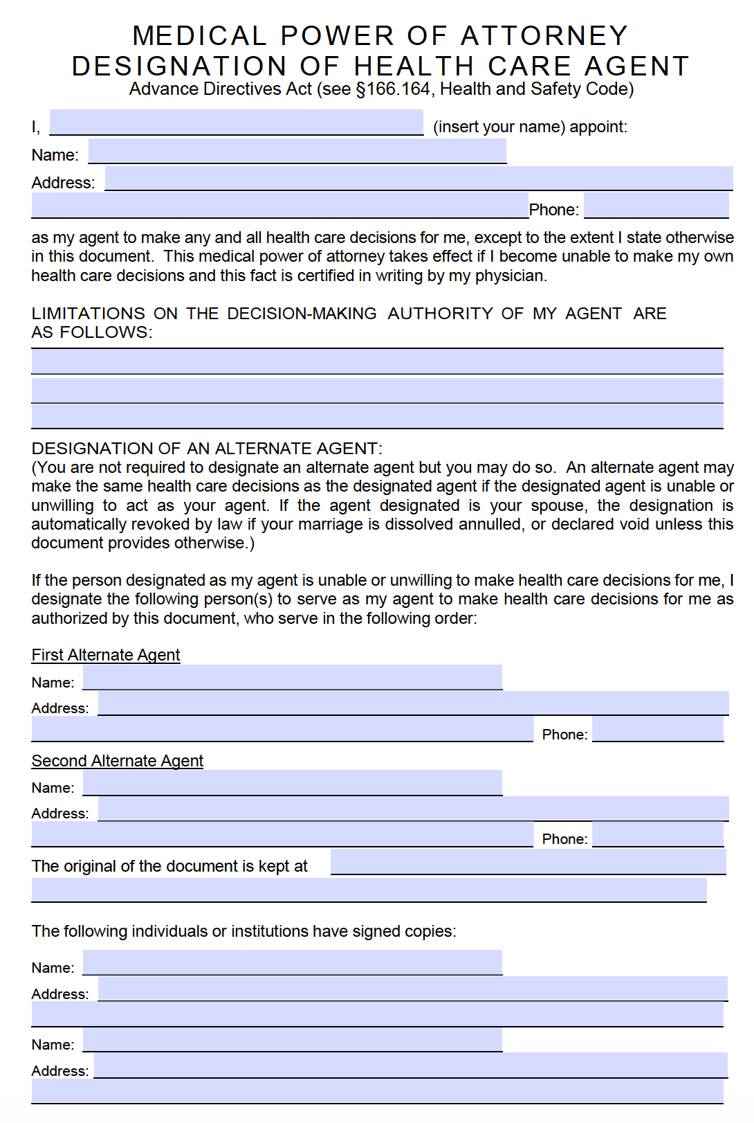 Free Medical Power of Attorney Texas Form – PDF – RTF – Word