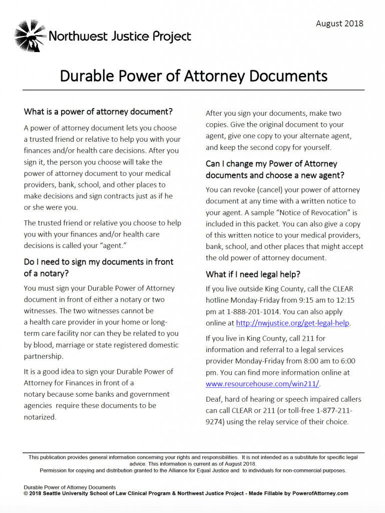 power of attorney form washington dc  Free Durable Power of Attorney Washington Form – Adobe PDF