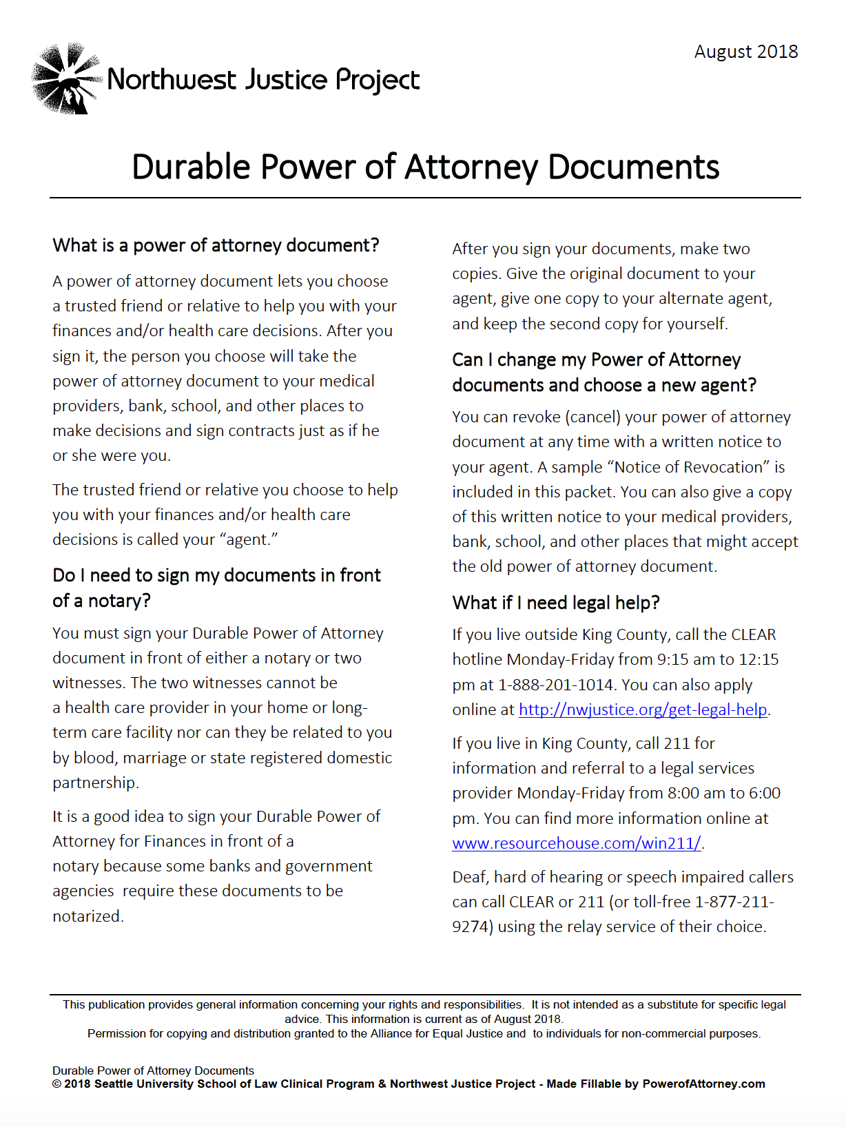 Dynamic image throughout free printable power of attorney form washington state