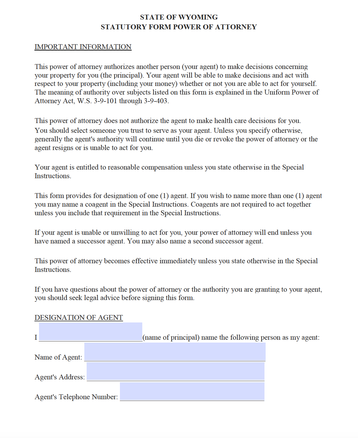 power of attorney form wyoming  Free Durable Power of Attorney Wyoming Form – Adobe PDF