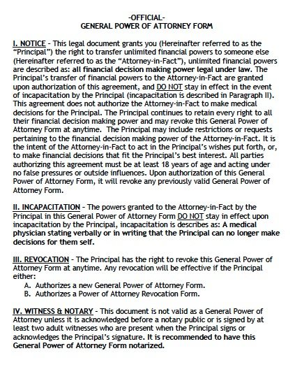 Free General Power Of Attorney Alaska Form – Pdf – Word
