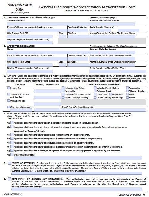 Free Tax Power Of Attorney Arizona Form 285 I Adobe Pdf