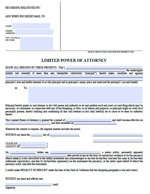 Free Limited Power of Attorney California Form – Adobe PDF