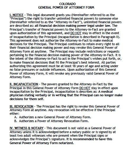 Colorado General POA Form