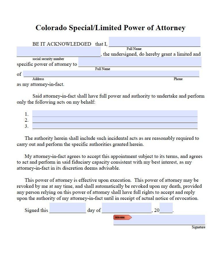 Colorado Limited/Special Power of Attorney Form