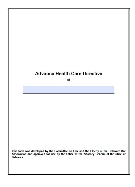 Free Medical Power Of Attorney Delaware Form – Adobe Pdf