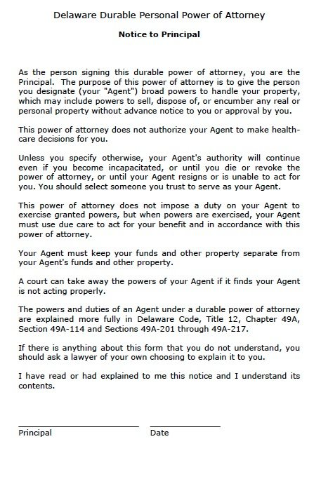 Free Durable Power Of Attorney Delaware Form  Adobe Pdf