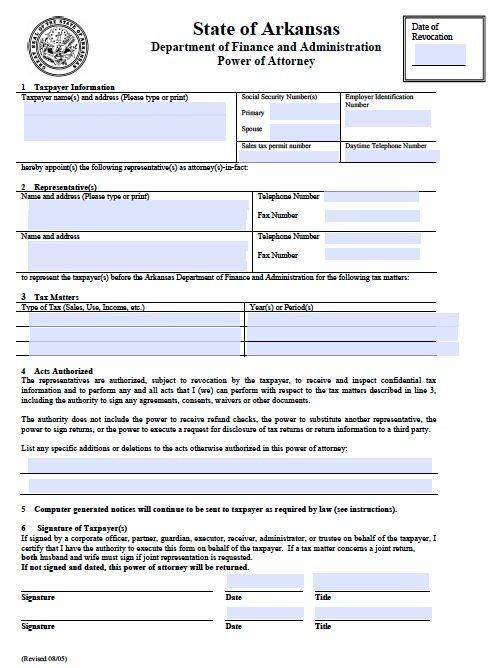 Fillable Tax POA Form