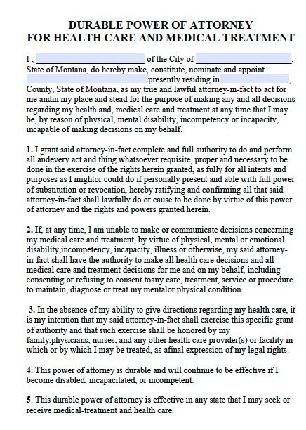 Free Medical Power of Attorney Montana Form Adobe PDF – Health Care Power of Attorney Form