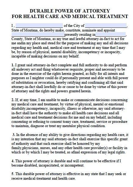 Montana Medical Power of Attorney Form