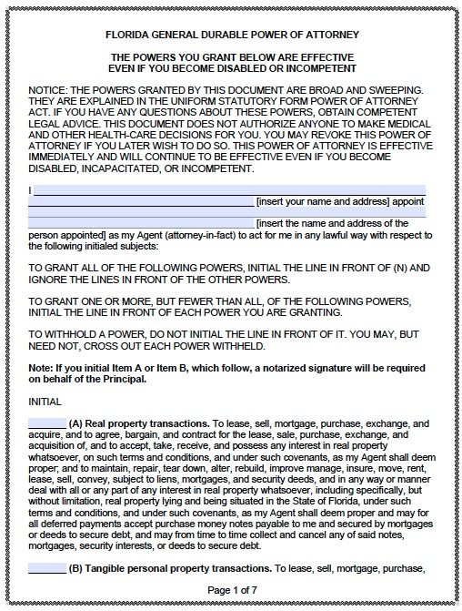 Free Durable Power of Attorney Florida Form PDF Template – General Power of Attorney Form