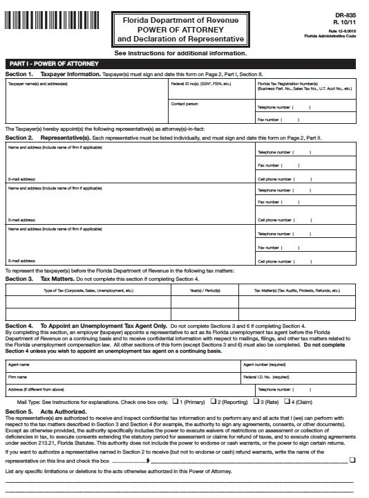 Tax Power Of Attorney Florida Form - Adobe Pdf