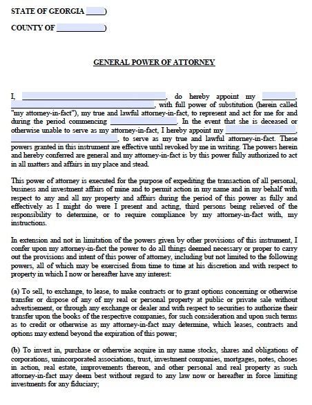 Free General Power of Attorney Georgia Form Adobe PDF – General Power of Attorney Form