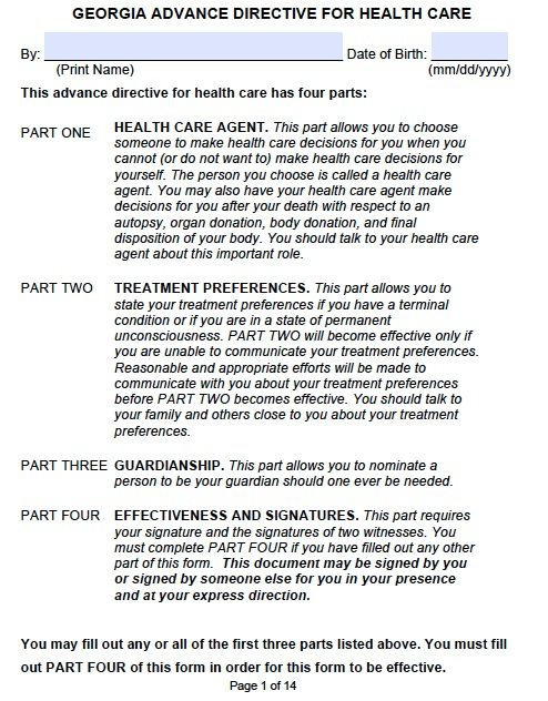 Medical Power Of Attorney Georgia Form - Adobe Pdf