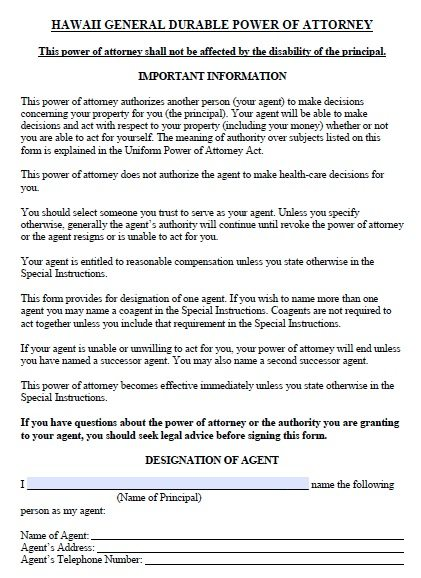 Free Durable Power Of Attorney Hawaii Form  Adobe Pdf