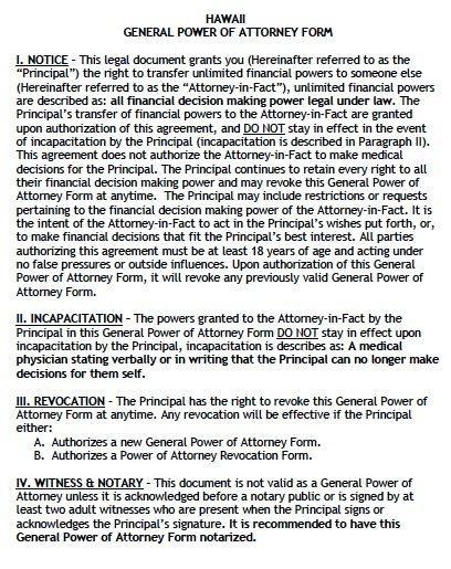 Free General Power Of Attorney Hawaii Form Adobe Pdf