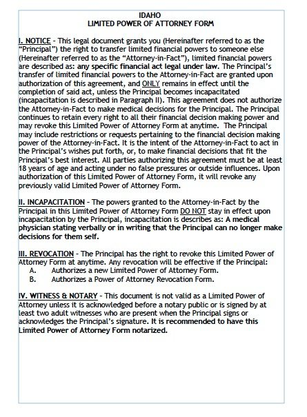 Free Limited Power of Attorney Idaho Form – Adobe PDF