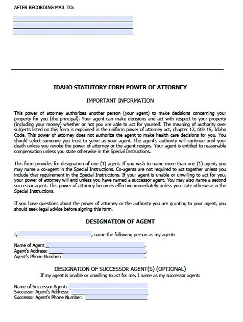 Free Durable Power Of Attorney Idaho Form  Adobe Pdf