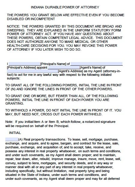 Free Durable Power of Attorney Indiana Form Adobe PDF – Durable Power of Attorney Forms