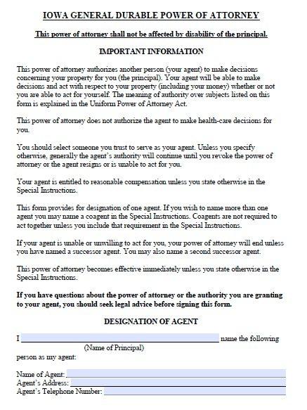 Iowa Financial POA Form