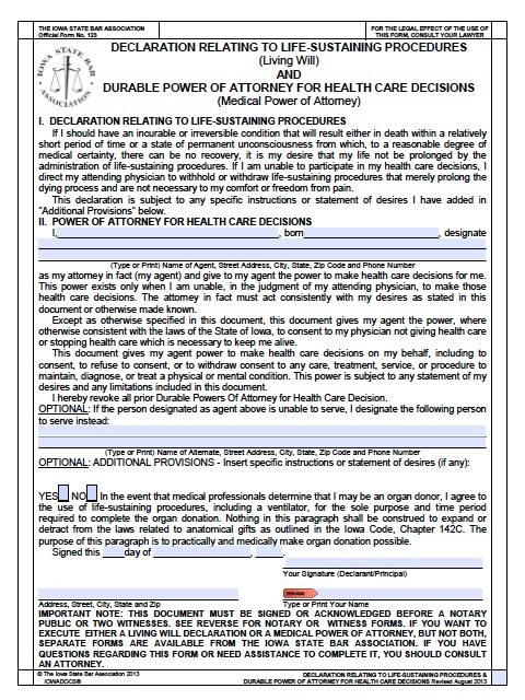 Free Medical Power Of Attorney Iowa Form – Living Will – Adobe Pdf
