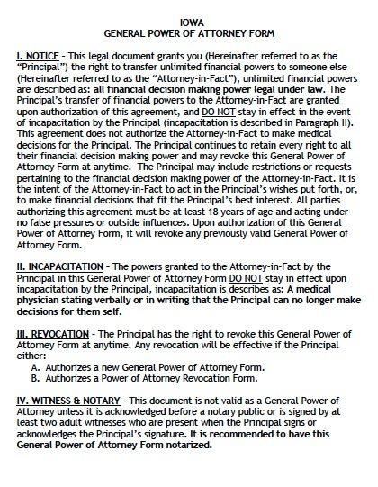 Free General Power of Attorney Iowa Form – Adobe PDF