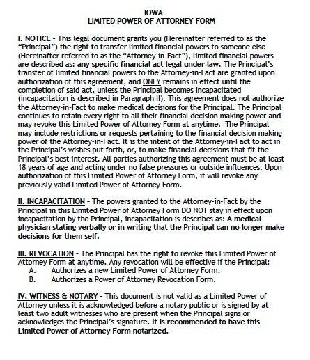 Iowa Limited Financial Power of Attorney Form