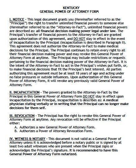 Kentucky General POA Form
