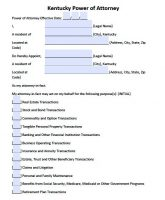Free Kentucky Power Of Attorney Forms Pdf Templates