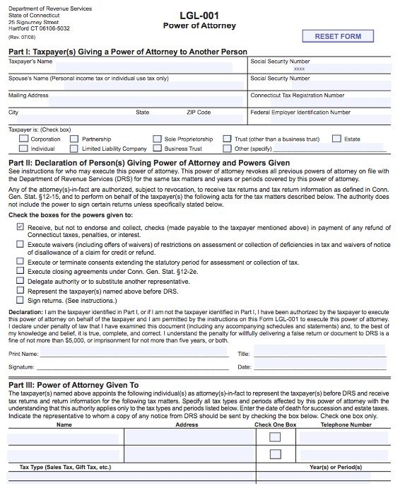 Free Tax Lgl Power Of Attorney Connecticut Form  Pdf
