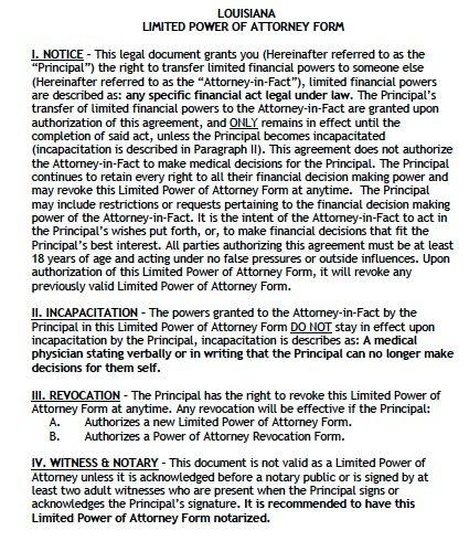 Louisiana Limited FInancial POA Form