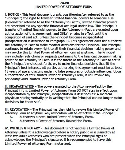 Free Limited Power of Attorney Maine Form – Adobe PDF