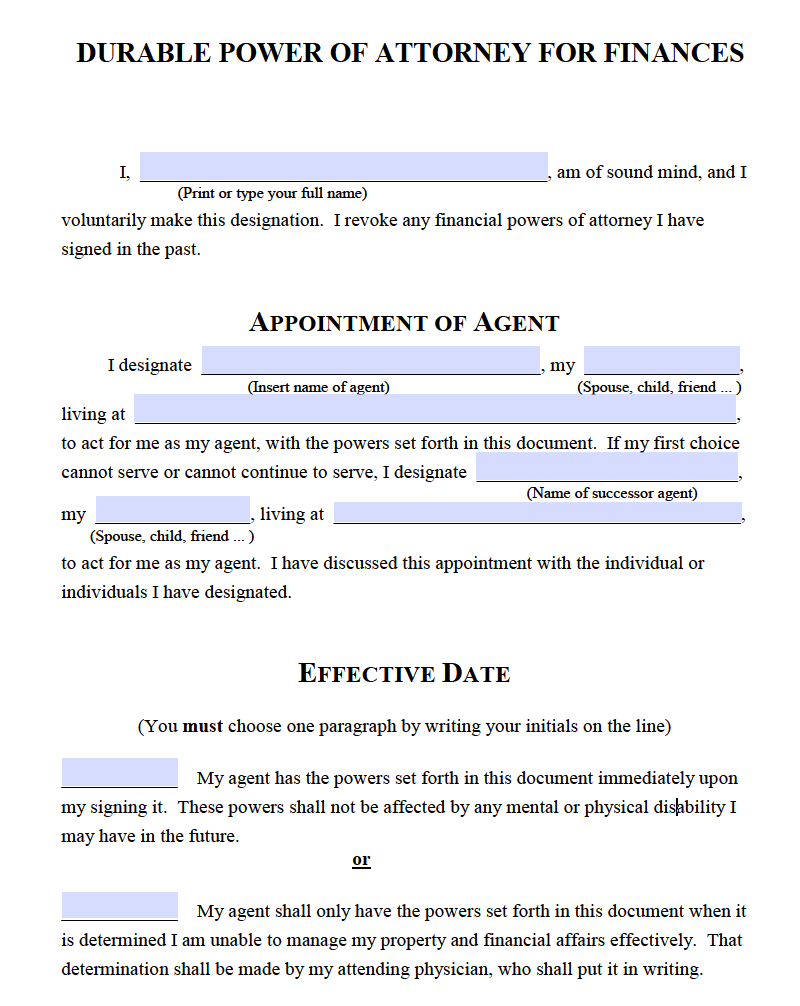 This is a photo of Critical Printable Durable Power of Attorney Forms