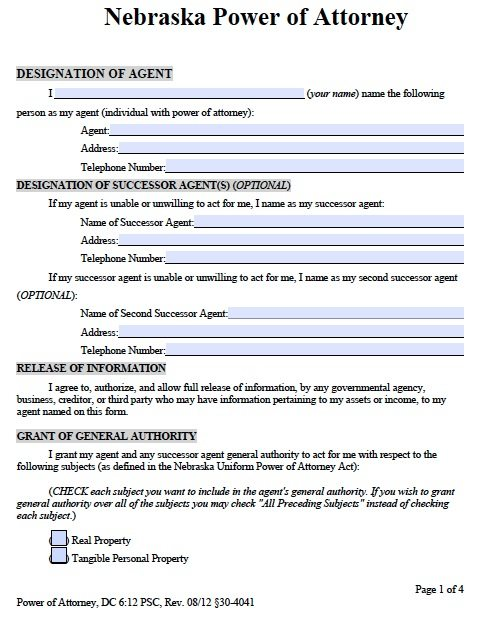 Free Durable Power Of Attorney Nebraska Form – Adobe Pdf
