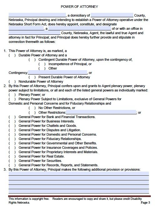 full power of attorney template - free general power of attorney nebraska form adobe pdf