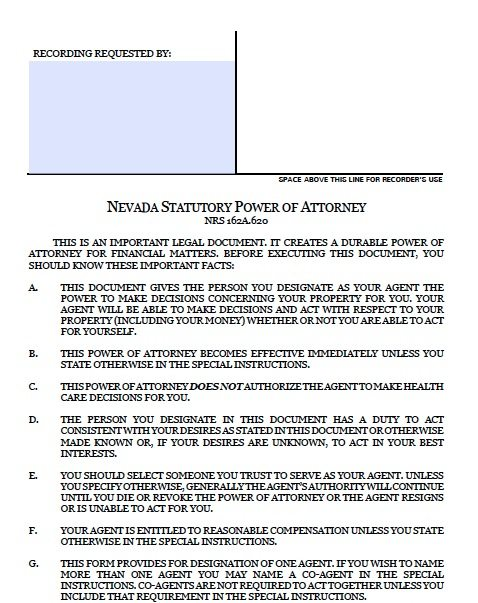 Nevada Durable Financial POA Form