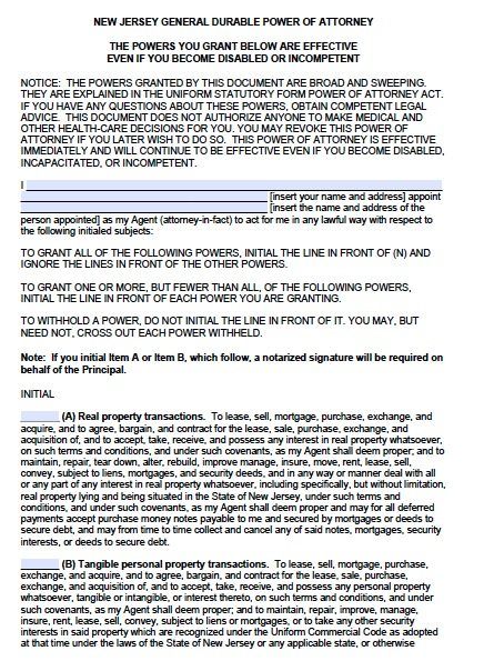 New Jersey Durable Financial Power of Attorney Form